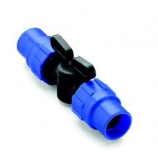 Кран проходной 16 мм компрессионный для капельных трубок стандарта 16 мм