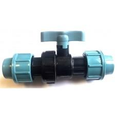 Кран для труб ПНД 20 мм проходной