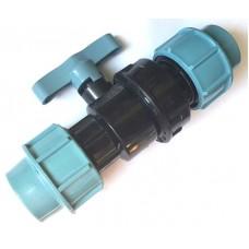 Кран для труб ПНД 25 мм проходной