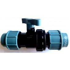 Кран для труб ПНД 32 мм проходной
